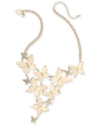 Thalia Sodi Gold Tone Pave Butterfly Statement Necklace 17 3 Extender Created For Macy's