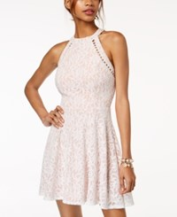Jump Juniors' Lace Pearl Inset Halter Fit And Flare Dress Ivory Nude