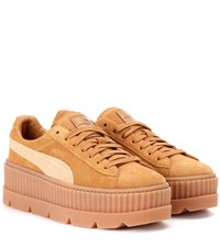 Fenty By Rihanna Cleated Creeper Suede Sneakers Beige