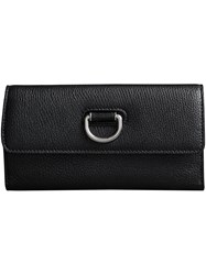 Burberry D Ring Grainy Leather Continental Wallet Black
