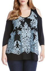 Karen Kane Plus Size Women's Lace Overlay Cold Shoulder Top Sea Blue