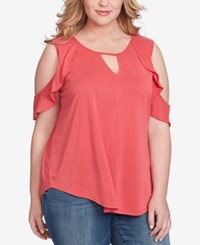 Jessica Simpson Trendy Plus Size Pearlina Cold Shoulder Top Bright Pink