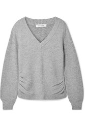 Frame Ruched Wool And Cashmere Blend Sweater Gray