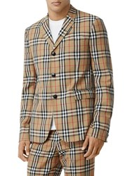 Burberry Check Wool And Mohair Blazer Archive Beige