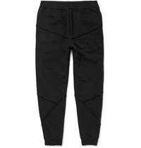 Alexander Mcqueen Tapered Panelled Loopback Cotton Jersey Sweatpants Black