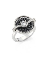 Pleve Black Border Diamond And 18K White Gold Round Opus Ring White Gold Black