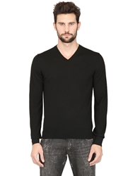 Dolce And Gabbana Extrafine Virgin Wool V Neck Black