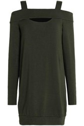 Bailey 44 Cold Shoulder Cutout Stretch Modal Fleece Mini Dress Army Green