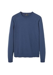 Mango Men's Cotton Cashmere Blend Sweater Navy