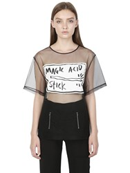 Rolling Acid Magic Printed Patches Mesh Top