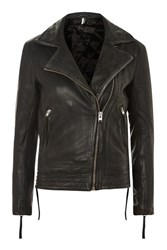 Topshop Tall Leather Biker Jacket Black