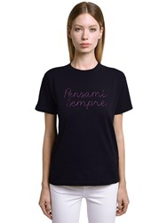 Giada Benincasa Pensami Sempre Embroidered Cottont Shirt Black