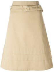 Romeo Gigli Vintage Belted A Line Skirt Nude And Neutrals