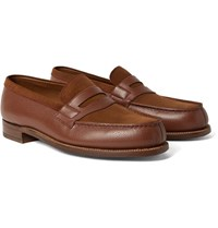 J.M. Weston 180 The Moccasin Full Grain Leather And Suede Penny Loafers Brown