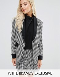 Fashion Union Petite Houndstooth Print Blazer With Contrast Detail Co Ord Multi