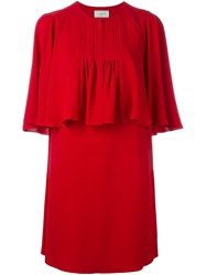 Lanvin Draped Ruffle Top Red