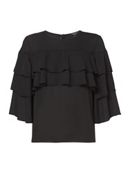 Therapy Zoe Ruffle Sleeve Top Black