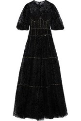 Costarellos Woman Lace Trimmed Embellished Flocked Tulle Gown Black