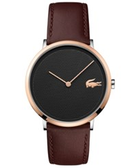 Lacoste Men's Moon Ultra Slim Brown Leather Strap Watch 40Mm No Color