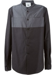 Lost And Found Rooms Panelled Band Collar Shirt Grey