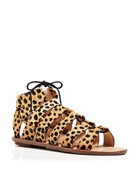 Loeffler Randall Open Toe Flat Ghillie Lace Up Sandals Skye Caged Cheetah