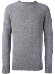 Ymc 'Suedehead' Brushed Knit Sweater Grey