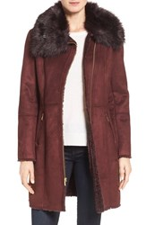 Cole Haan Signature Women's Faux Shearling Coat With Faux Fur Trim Burgundy