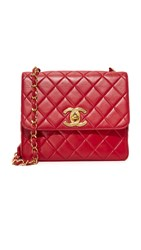 Wgaca Chanel Cc Square Bag Previously Owned Red