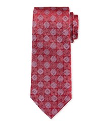 Neiman Marcus Floral Medallion Silk Tie Red Pattern