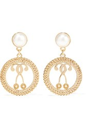 Moschino Gold Tone Faux Pearl Earrings One Size