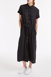 Raquel Allegra Crinkle Shirt Dress Black