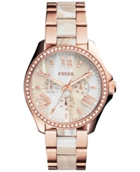 Fossil Women's Chronograph Cecile Shimmer Horn And Rose Gold Tone Stainless Steel Bracelet Watch 40Mm Am4616