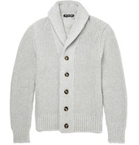 Michael Kors Shawl Collar Cotton Blend Cardigan Gray