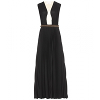 Victoria Beckham Floor Length Pleated Gown Black Cream