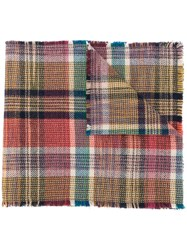 Missoni Check Print Scarf Red