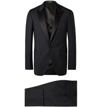 Lanvin Midnight Blue Slim Fit Satin Trimmed Wool And Mohair Blend Tuxedo Midnight Blue