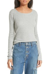 Vince Women's Thermal Pima Cotton Tee Heather Grey