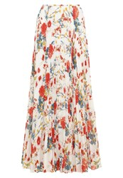 Karen Millen Maxi Skirt White Multi Rose
