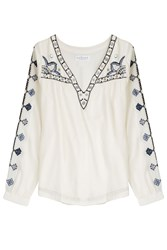 Velvet Embroidered Tunic Top White