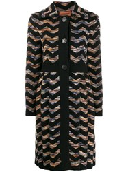 Missoni Zigzag Knit Coat Black