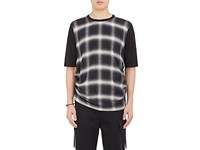 Helmut Lang Men's Plaid Front Ruched T Shirt Black