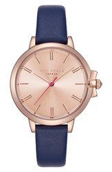 Ted Baker London Leather Strap Watch 36Mm Blue Rose Gold