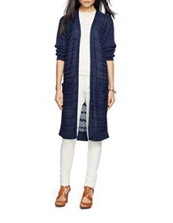 Lauren Ralph Lauren Cable Knit Open Front Cardigan Blue