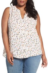 Nydj Plus Size Women's Print Sleeveless Pleat Back Top Montpellier Citrus