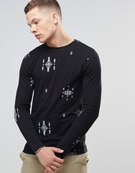 Asos Muscle Long Sleeve T Shirt With Aztec Print Black