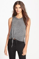 Leith Front Knot Muscle Tee Juniors Gray