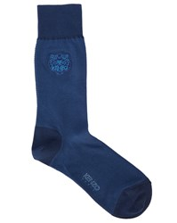 Kenzo Mottled Blue With Tiger Logo Socks