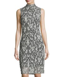 Neiman Marcus Lace Damask Print Sheath Dress Gray
