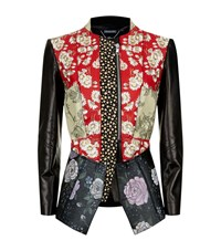 Alexander Mcqueen Floral Patchwork Leather Jacket Female Multi