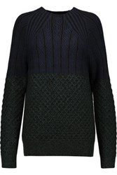 Proenza Schouler Cable Knit Wool Sweater Petrol
